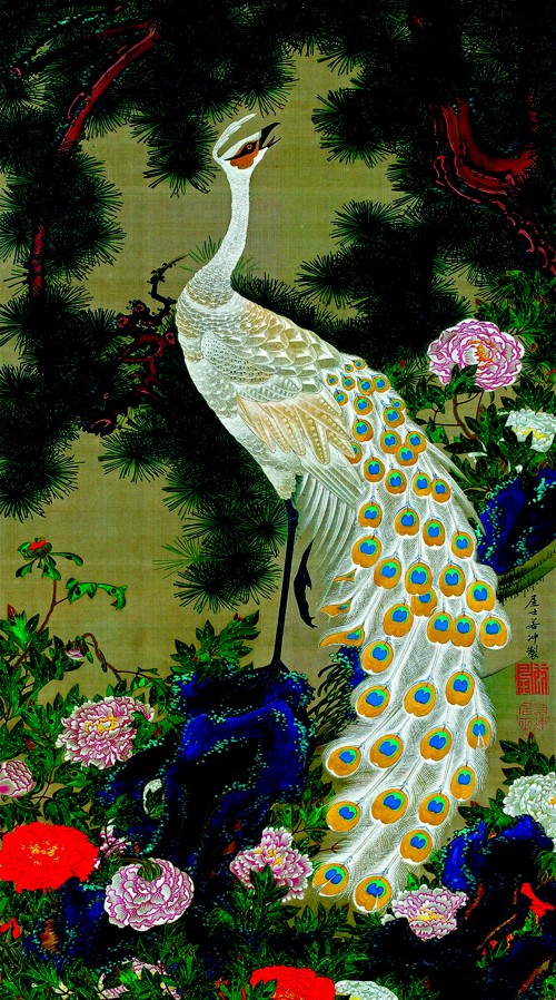 2. White peacock and peonies under a pine.jpg
